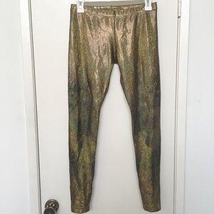 American Apparel Copper Gold Shiny Leggings Medium
